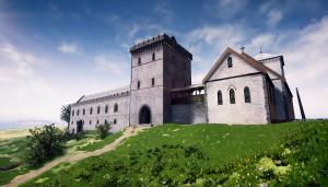 Avaldsnes kongsgård rundt år 1300. (Ill. Arkikon)