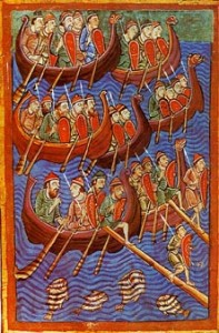 A Danish fleet invading England. Illuminated illustration from the 12th century Miscellany on the Life of St. Edmund.