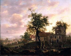 Avaldsnes på Karmøy 1813, maleri av I.C. Dahl. (Foto J. Lathion, Nasjonalgalleriet) Dahl laget flere maleri og skisser fra Avaldsnes. Merk den vakre buen i tårnet.