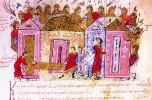 Væringer i keiserens livgarde i Konstantinopel. Bilde fra John Skylitzes krønike fra 1ooo-tallet