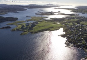"""Avaldsnes is located in the middle of the strait Karmsundet – Nordvegen – """"the way to the North"""". Whoever controlled the strait of Karmsundet could control all shipping trafic along the Norwegian coast and thereby the trading route to Europe. (Photo Gunnar Strøm)"""