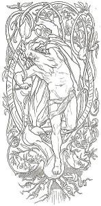 Odinofrer seg selv på Yggdrasil.(Ill. Lorenz Frølich, 1895)