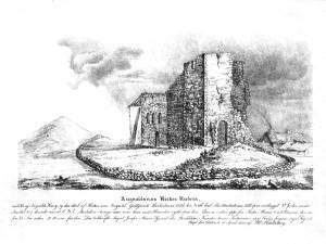 Olavskirken før restaurering. Flagghaugen til venstre. (Skisse Nils Hertzberg, 1828)