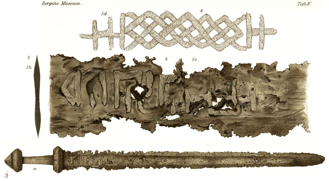 Runer og magi sword from 800s with runic inscription found in vik sogn now in bergen museum buycottarizona Choice Image