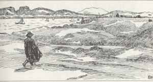 """Asbjørn on his way to the royal manor at Avaldsnes"". (From the saga of St. Olaf. Ill. I. Werenskiold)"