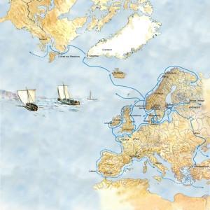 Vikingenes reiseruter. (Illustrasjon Dag Frognæs)