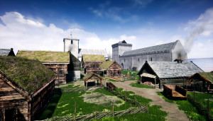 Digital rekonstruksjon av Kongsgården på Youtube.  Arkikon