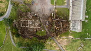 The Royal manor ruins seen from above. (Photo Austevik Dronefoto)
