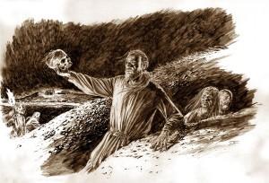Sagaen forteller at Olav Tryggvasson åpnet flere gravhauger på Avaldsnes. Var det han som gjorde haugbrott i Grønhaug en gang på 900-tallet? (Illustrasjon Dag Frognæs)