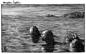 Seidmennene på Skrattaskjær. Illustrasjon av H. Egedius til Snorres kongesagaer