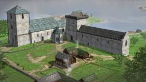 Avaldsnes Kongsgård. Rekonstruksjon basert på arkeologiske undersøkelser i 2017.