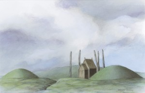 The first church at Avaldsnes was probably built in the middle of a circuit of five huge, standing stones. (ill. Steinar Iversen)
