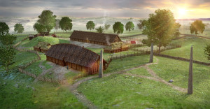 Avaldsnes in the Late Roman Age. The standing stone to the far right is Virgin Mary's Sewing Needle. Digital reconstruction based on archaeological excavations. (Ill. Arkikon)