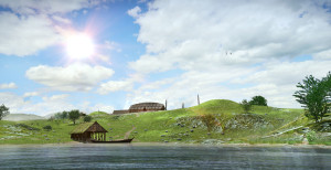 Avaldsnes in the Late Roman Age seen from the strait Karmsund. Digital reconstruction based on archaeological excavations. (Ill. Arkikon)
