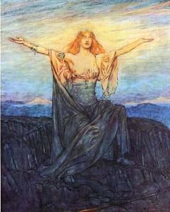 Brynhild våkner opp og hilser dagen. (Illustrasjon av Arthur Rackham)