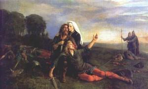 Fornsagamotiv (Maleri av P.N. Aarbo . Wikimedia Commons).