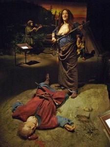 Sagaene forteller om kvinner som dro på vikingferder og oppdagelsesreiser. Her Frøydis i Vinland slik hun framstilles i sagamuseet på Island.