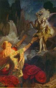 Helge tar farvell med Sigrun før han drar tilbake til Valhall. Helge og Sigrun gjendfødes senere som Helge Haddingjaskate og Kåra Halvdansdotter.   (Maelri av Ernest Wallcousins, 1883)
