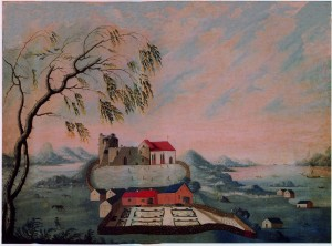 The Flag Mound located north of the church. Further north you can see other burial mounds that lay along the fairway Karmsundet. To the left you can glimpse the Bronze Age mounds of Blood Heights. (Painting by Johs.Rasch 1738. National Museum Copenhagen)