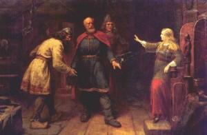 Harald frir til Gyda. Gyda nekter å gifte seg med Harald Hårfagre før han har samlet Norge til ett rike. (Maleri av  Knut Bergslien, 827-1908