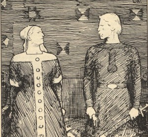 Olav Tryggvason proposes marriage to Sigrid the Haughty, who rejects him. ( Ill E. Werenskiold)
