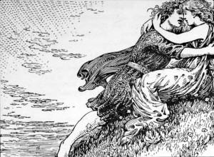 Svipdagr og Menglöð. Svipdag får hjelp av sin døde mor, volva Groa, for å kunne gjenforenes med Menglød. (W.G. Collingwood, 1908.)
