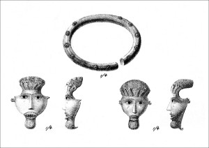 Copper alloy facemasks found at Avaldsnes in c. 1800. Drawing by Lyder Sagen in 1812. (Photo: Bergen Museum )