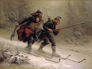 Birkebeinerne fører kongesønnen Håkon Håkonsson over fjellet.  Håkons mor Inga fra Varteig var Kong Sverres frille. (Maleri Knud Bergslien).
