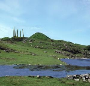 Slik kan Flagghaugen og dei fem bautasteinane ha sett ut i landskapet.
