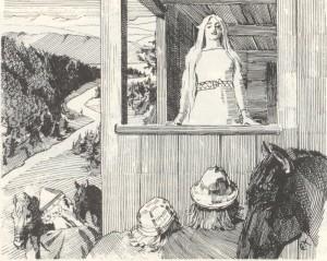 """I Harald Hårfagres saga hører vi at den unge Gyda nekter å gifte seg med Harald før han har """"samlet Norge til ett rike"""".  (Harald Hårfagres Saga, illustrasjon I Werenskiold)"""
