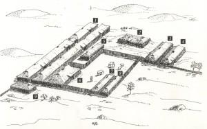 KONGSBORGEN PÅ FERKINGSTAD Etter Neumanns grunnskisse ble dette forslaget til rekonstruksjon laget. Samlet areal for bosted 3.300kvm. 1. Gildesaler ca. 60m lange, 2. stabbur, 3. badstu, 4. fjøs/love, 5 ildhus, 6 frustove, 7. jomfrubur, 8. jomfrubur, 9. talestove.