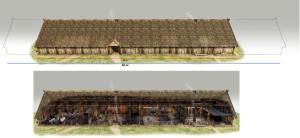 Langhuset i Pakterhagen. Rekonstruksjon basert på arkeologiske utgravninger. Ill. Arkikon