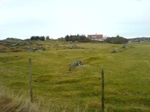 Naust på Stavasletta. Tufta var i 1979 35m lang og 10 meter bred. (Foto Marit Synnøve Vea)