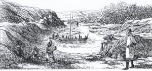 St Olav og mannskapet ligg og ventar i Vikingstadvågen til fiendene har segla bort. (Illustrasjon Svein Johannessen)