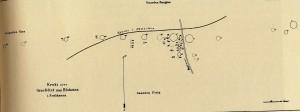 Bendiksens kart over fornminnene på Blodheia fra 1876, (Topografisk arkiv, Oldsakssamlingen Oslo)