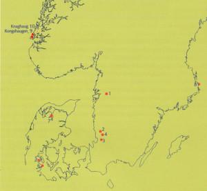 OVERSIKT OVET STEINSKIP fra eldre bronsealder i Skandinavia.  (etter Lise Myhre.