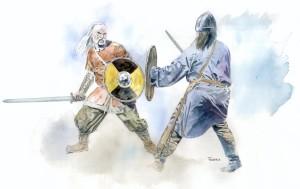 Æren kunne gjennopprettes ved holmgang. Duelantene gikk da ut på en holme og slåss, enten til første blodsdråpe eller til døden. Det var strenge regler for hvordan duellen skulle foregå. Den mest kjente beskrivelsen finnes i Sagaen om Gunnlaug Ormstunga. Holmgang ble avskaffet ved lov i 1014. (Illustrasjon Dag Frognæs)