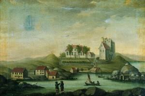 """Avaldsnes Kirke 1710"". Til venstre Kuhaugen"