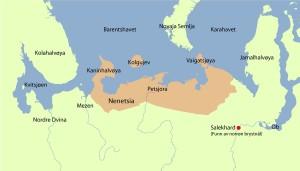 "Kart over samojedane sitt landområde.  (Ill. B. Birgisson ""Den svarte vikingen"")"