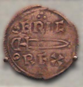 """Mynt slått under Eirik Blodøks si tid som """"konge av York"""" (952 - 954) På mynten står """"EIRIC REX"""". Own work by uploader, Foto British Museum"""