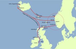 """Geirmund sine reiser til Irland og Island.  (Ill. Bergsveinn Birgisson """"Den Svarte Vikingen)"""