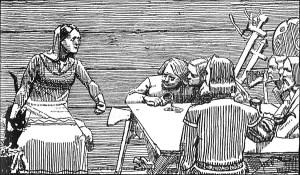 """Sagaen fortel at Eirik blei påverka av kona si som var ei stridbar kvinne. """"Gunnhild kongsmor egger sønene sine til hemn"""". Ill. C. Krogh)"""