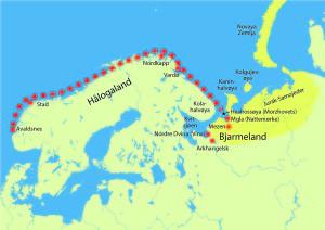 """Hjør si reise til Bjarmeland. (Ill. Bergsveinn Birgisson """"Den Svarte Vikingen"""")"""