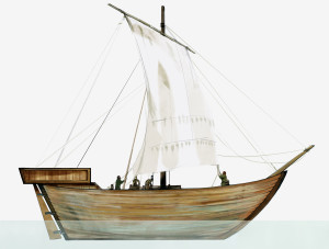 Slik kan Avaldsnesskipet ha sett ut. Skipet er tegnet med ak,terkastell. Det kan i tillegg også ha hatt et forkastell. Ill. Hege Vatnaland