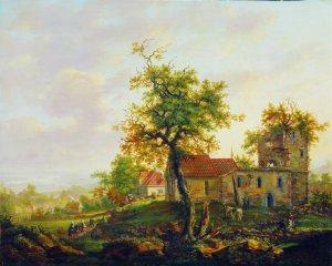"""«Avaldsnes på Karmøy, 1813"""". Maleri av J.C. Dahl . Foto Nasjonalgalleriet"""