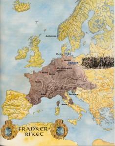 """Kart Iver Frankarriket. (Ill. Dag  Frognes i boka """"Norge blir et rike"""", T. Titlestad"""