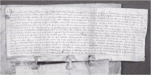 Kongebrev utstedt av Håkon V på Avaldsnes i 1308.  Det er eit vernebrev for domkapitlet i Nidaros og viser at kongen tok seg av regjeringsaker medan han var på Avaldsnes.