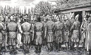 Olav den Hellige kommer ut av kirken og går gjennom manngarden til Erling's menn. (Ill. E Werenskild. Olav den helliges saga)