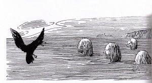 Seidmennene på Skrattaskjær På Skrattaskjær let Olav Tryggvason drukne ein flokk med seidmenn som kom til Avaldsnes for å drepa kongen.( Ill: H. Egedius sin versjon av Seidmenenne med ramn)