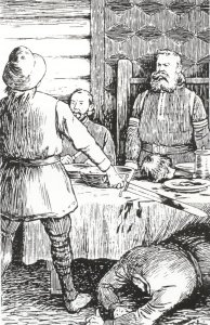 Asbjorn beheads Thorer Sel, so that the head fell upon the table before the king, and the body at his feet, and the table-cloth was soiled with blood from top to bottom.(Ill. Theodor Kittelsen)